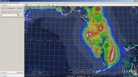 Google Earth light pollution map overlay